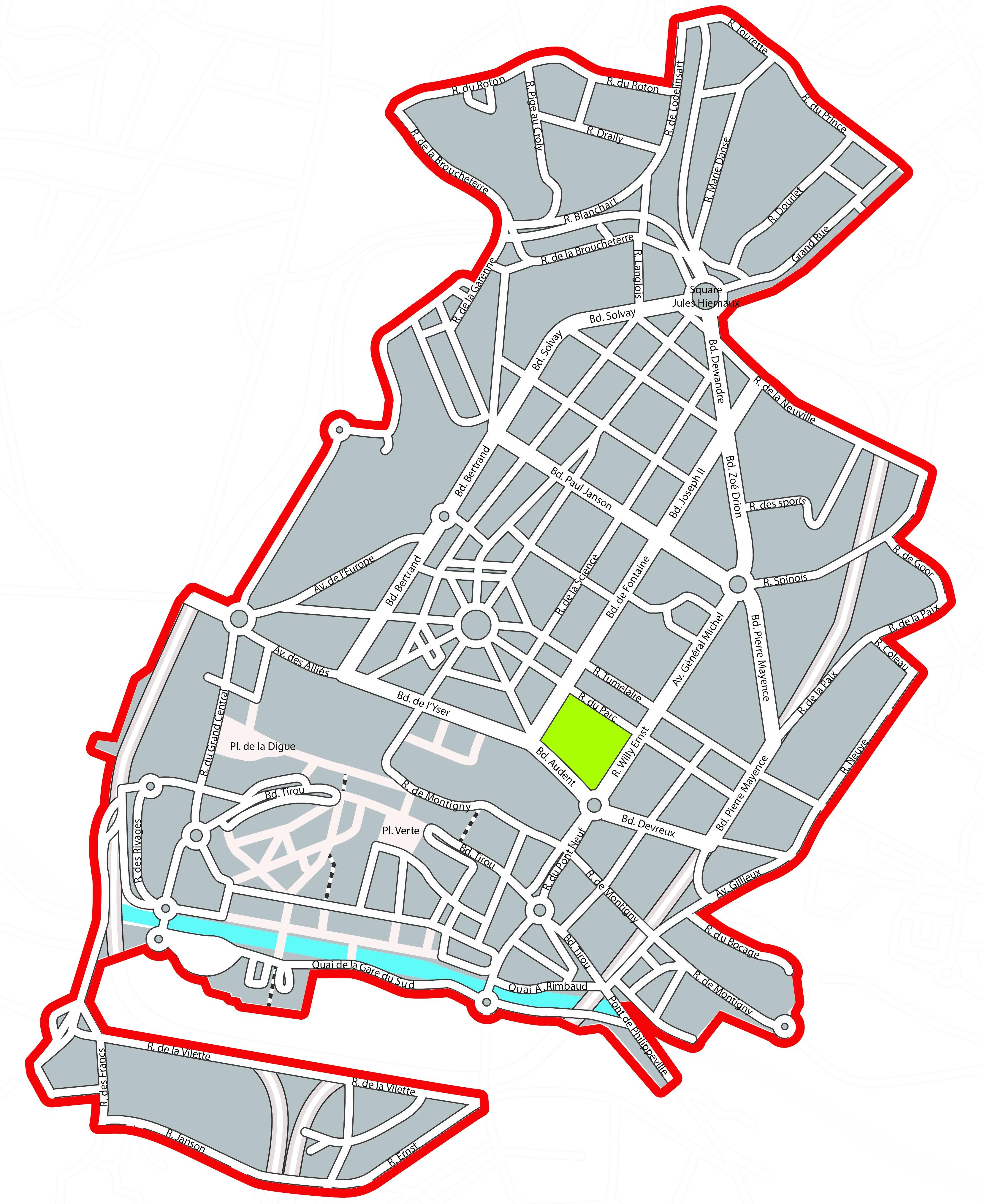 Listes des rues du centre-ville de Charleroi desservies par le service propreté de Tibi